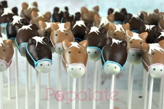 Horse with blue and pink bridle cake pops