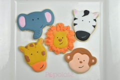 Jungle animal cookies: lion, giraffe, monkey, elephant, zebra