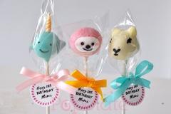 Llama, Narwhal, Sloth cake pops