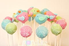 Pastel bird cake pops