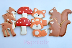 Woodland animal cookies; fox, squirrel, deer