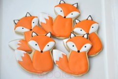 woodland theme, fox cookies