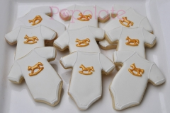 Gold rocking horse baby romper cookie