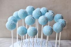Delicate blue cake pops