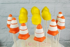 Construction cake pops, safety hat, safety cone