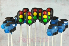 Traffic light, train cake pops; Transport