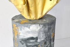 Gold sail concrete cake