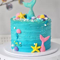Mermaid cake, sea theme