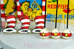 Dr Seuss Cat in the Hat cookies and cake pops