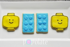 Lego head iced biscuits