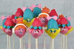 Trolls cake pops; Smidge, Poppy, DJ Suki