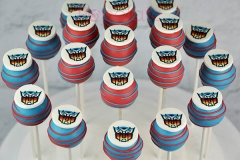 Transformer logo cake pops