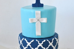 Baptism cake in navy blue