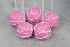 Hot pink, white swirl, cake pops