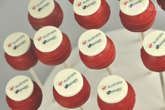 Virgin logo cake pops