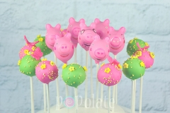 Peppa Pig cake pops with matching flower pops