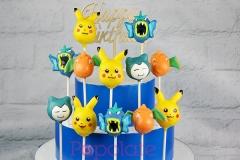 Pikachu cake pops, Gyrados cake pops, Snorlax cake pops, Dragonite cake pops