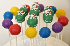 Wiggles cake pops featuring Dorothy the Dinosaur