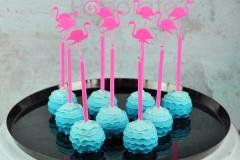 Ombre ruffle cake pops, flamingo sticks