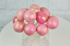 Pink and gold glitter cake pops