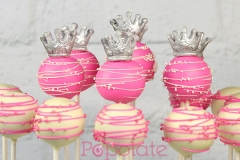 Silver crown princess cake pops