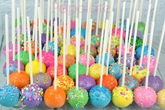 Brightly coloured cake pops