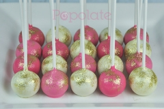 Gold, white, pink cake pops