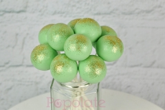 Mint green and gold cake pops