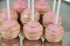 Pink with gold glitter stripes cake pops