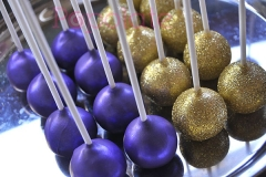 Shiny purple cake pops