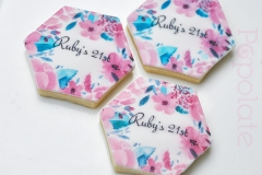 Floral printed cookie with name