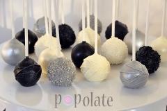 Black Silver White elegant cake pops