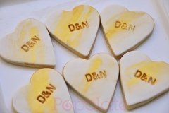 Gold brush wedding cookies