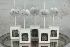 Wedding cake pops with labels