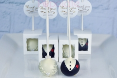Bride and groom cake pops, individually boxed
