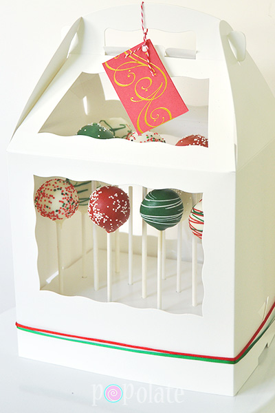 delivered Christmas cake pop gift hamper stand box