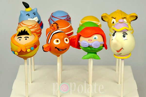 Disney cake pops Nemo, Ariel, Mrs Potts, Russell, Genie and Simba