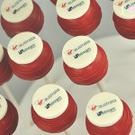 Logo cake pops corporate Virgin corporate cake pops
