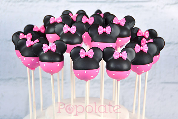Pink Minnie Mouse Cake Pops Popolate