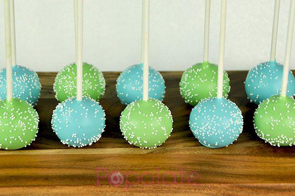 Blue green cake pops