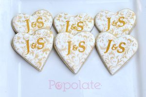 Wedding cookies with initials