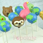 Flamingo, sloth, frog, bear, iguana, giraffe and earth cake pops